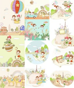 travel-theme-dream-children-painting-vector-material_15-8697